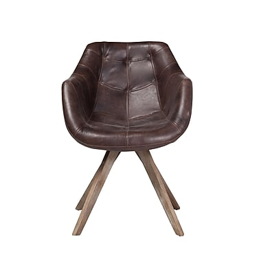 17 Stories Arpana Genuine Leather Upholstered Dining Chair; Brown