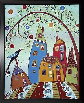 Winston Porter 'Swirl Tree Bird and Houses' Print; Black Plastic Framed Paper