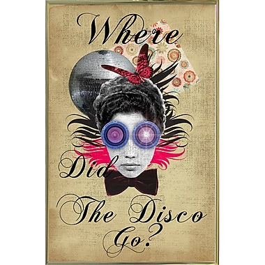 East Urban Home 'Where Did The Disco Go' Framed Graphic Art Print; Gold Metal Framed Paper