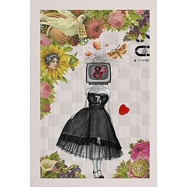 East Urban Home 'Candy Girl' Framed Graphic Art Print; White Wood Medium Framed Paper