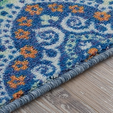Bungalow Rose Amblewood Blue/Green Area Rug; Rectangle 7'6' x 10'