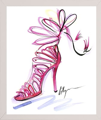 East Urban Home 'Pink Up Your Heels' Print; White Wood Medium Framed Paper