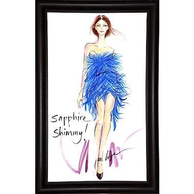 East Urban Home 'Sapphire Shimmy' Print; Bistro Expresso Framed Paper
