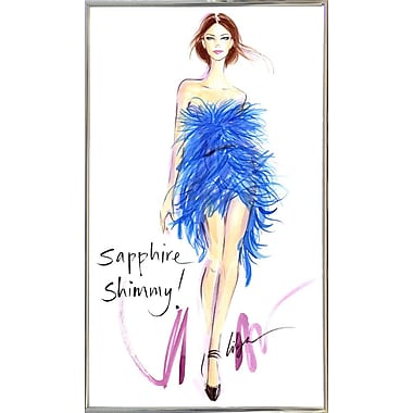 East Urban Home 'Sapphire Shimmy' Print; Silver Metal Framed Paper