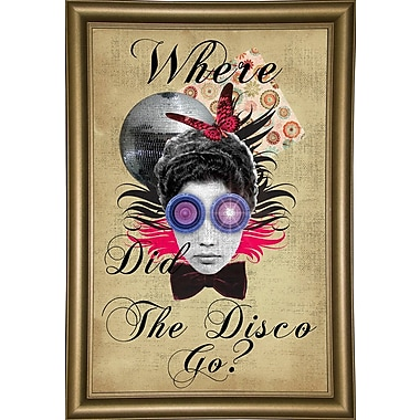East Urban Home 'Where Did The Disco Go' Framed Graphic Art Print; Bistro Gold Framed Paper