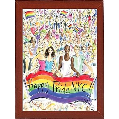 East Urban Home 'Happy Pride NYC!' Print; Red Mahogany Wood Medium Framed Paper
