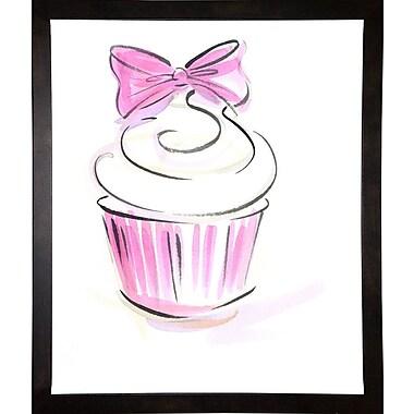 East Urban Home 'Cupcake-3' Print; Cafe Espresso Wood Framed Paper