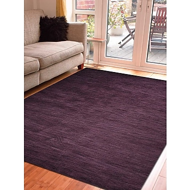 Latitude Run Delano Solid Hand Knotted Wool Purple Area Rug; Square 8'