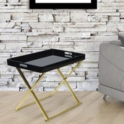 Everly Quinn Jacki Folding Tray Table; Black/Gold