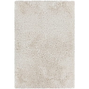 Everly Quinn Mairead Textured Shag White Area Rug; Round 7'9''
