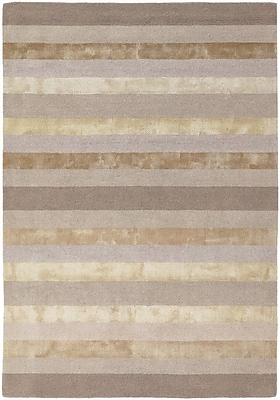 Everly Quinn Emlyn Light Grey Stripes Area Rug; 7'9'' x 10'6''