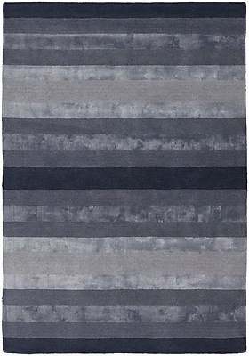 Everly Quinn Emlyn Dark Grey Stripes Area Rug; 7'9'' x 10'6''