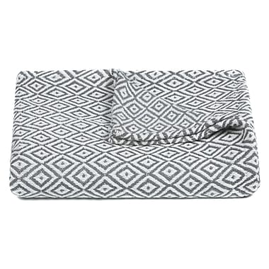 George Oliver Velarde Handcrafted Cotton Throw Blanket; Gray / White
