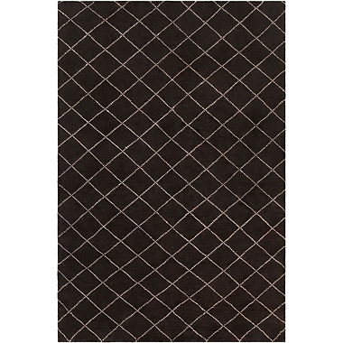 Gracie Oaks Tenafly Patterned Knotted Contemporary Wool Black/Cream Area Rug; 5' x 7'6''