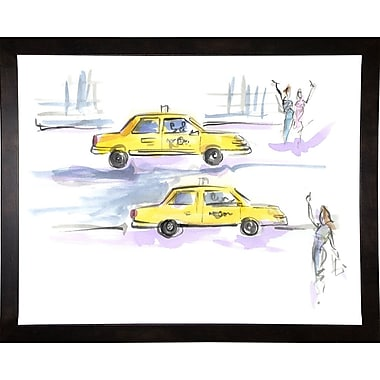 East Urban Home 'Taxi Taxi' Print; Cafe Espresso Wood Framed Paper