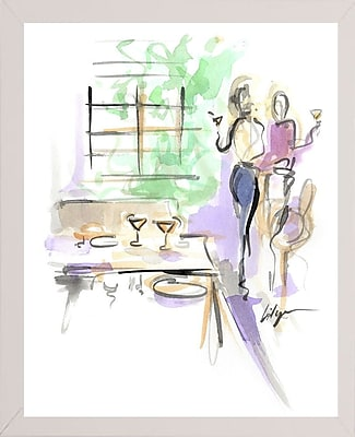 East Urban Home 'Wine and Dine' Print; White Wood Medium Framed Paper