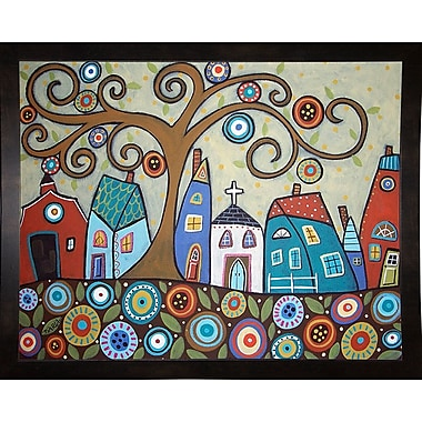 Winston Porter 'Folk Village' Print; Black Wood Medium Framed Paper