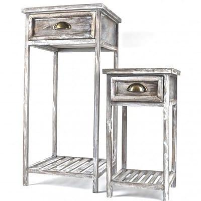 August Grove Flemington 2 Piece Wooden Telephone Table Set
