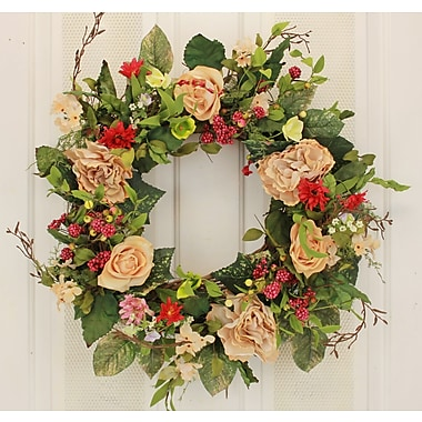 August Grove 22'' Rose and Hydrangea Wreath