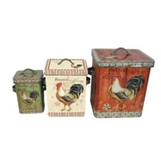 Gracie Oaks Rooster Pattern Metal 3 Piece Box Set
