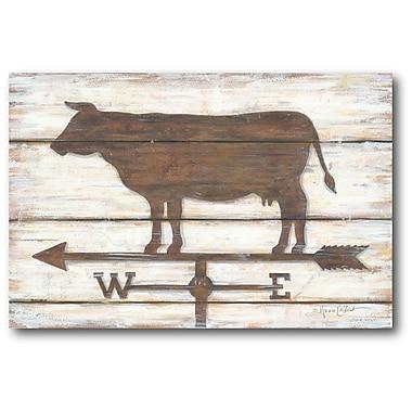 Gracie Oaks 'Farmhouse Cow' Graphic Art Print on Wrapped Canvas