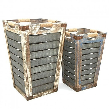Gracie Oaks Wood 2 Piece Basket Set