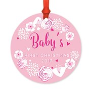 Harriet Bee Metal Floral Christmas Round Shaped Ornament; Pink