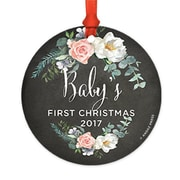 Harriet Bee Metal Chalkboard Floral Christmas Round Shaped Ornament; Black