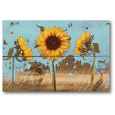Gracie Oaks 'Sunflowers on Wood IV' Graphic Art Print on Wrapped Canvas