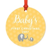 Harriet Bee Metal Baby Elephant Christmas Round Shaped Ornament w/ Ribbon; Yellow