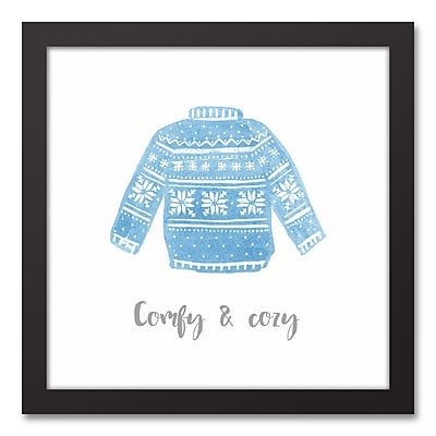 The Holiday Aisle 'Comfy & Cozy Sweater' Framed Textual Art Print on Canvas
