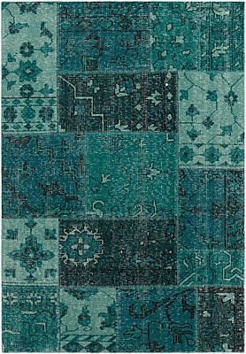 Bloomsbury Market Casselman Patterned Knotted Contemporary Teal Area Rug; 5' x 7'6''