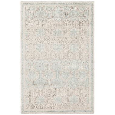 Bungalow Rose Denwood Hand-Knotted Cream/Blue Area Rug; 5' x 7'6''