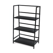 Ebern Designs Albarado 3 Tier Folding 40'' Etagere Bookcase; Black/Black