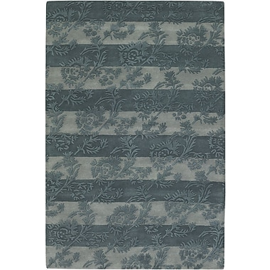 Darby Home Co Boise Olive/Light Gray Floral Stripe Area Rug; 7'9'' x 10'6''