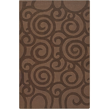 Ebern Designs Aspen Brown Swirls Area Rug; 7' x 10'