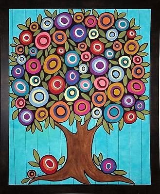Winston Porter 'Folk Art Tree' Print; Black Wood Medium Framed Paper