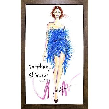 East Urban Home 'Sapphire Shimmy' Print; Cafe Mocha Framed Paper