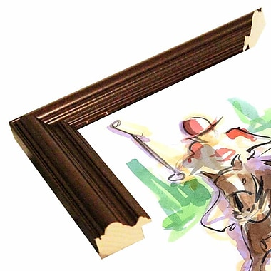 East Urban Home 'Polo Playin' Print; Cherry Wood Grande Framed Paper