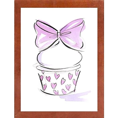 East Urban Home 'Cupcake-6' Print; Canadian Walnut Wood Medium Framed Paper