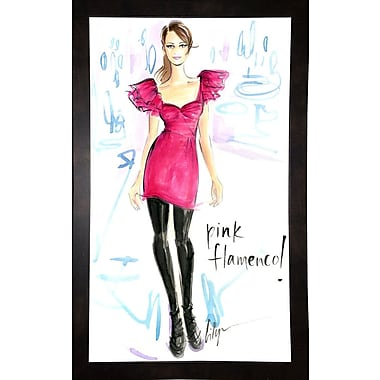 East Urban Home 'Pink Flamenco' Print; Black Wood Medium Framed Paper