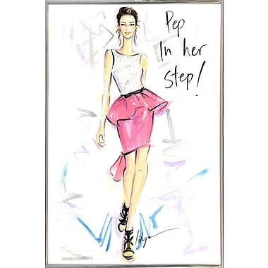 East Urban Home 'Pep in Her Step' Print; Silver Metal Framed Paper