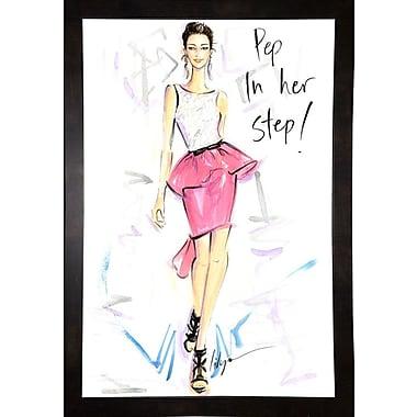 East Urban Home 'Pep in Her Step' Print; Black Wood Medium Framed Paper