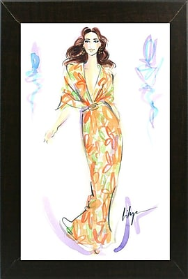East Urban Home 'Caftan Fan' Print; Brazilian Walnut Wood Medium Framed Paper