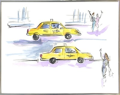 East Urban Home 'Taxi Taxi' Print; Silver Metal Framed Paper
