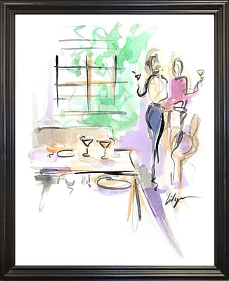 East Urban Home 'Wine and Dine' Print; Black Wood Grande Framed Paper