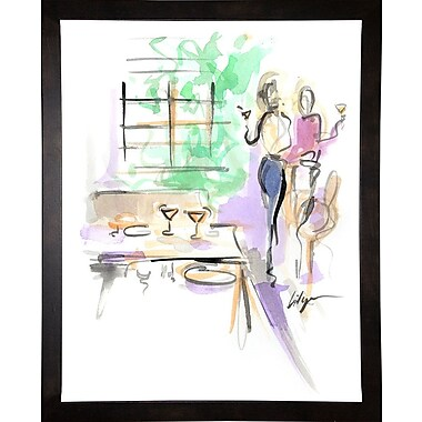 East Urban Home 'Wine and Dine' Print; Cafe Espresso Wood Framed Paper