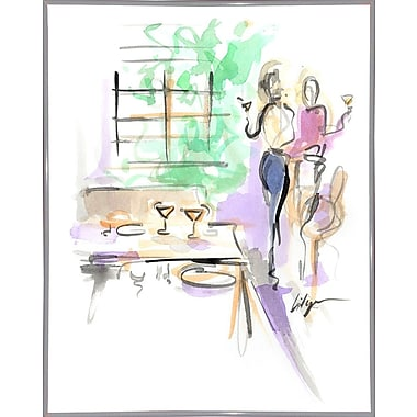 East Urban Home 'Wine and Dine' Print; White Metal Framed Paper