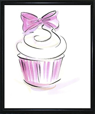 East Urban Home 'Cupcake-3' Print; Black Metal Flat Framed Paper