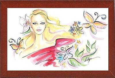 East Urban Home 'Flowers of Romance' Print; Red Mahogany Wood Medium Framed Paper